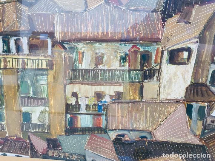 Arte: amparo fernandez gouache sobre papel y esgrafiado tejados balcones casas años 60 55x68cms - Foto 11 - 205814926