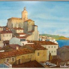Arte: JOAQUIM CABANÉ MANAUTA (1922-1993),PRECIOSA ACUARELA DE CADAQUÈS, 72X50 CM OBRA, CRISTAL MATE.. Lote 206183183