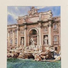 Arte: ACUARELA ROMA FONTANA DI TREVI, FIRMADA POR EL AUTOR. Lote 206268643
