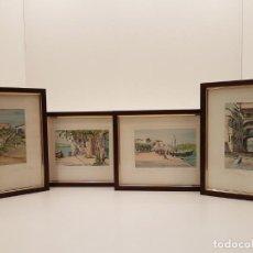 Art: WILFRID P. CORUM, 4 DIBUJOS TINTA ACUARELA DE LA ISLA DE MENORCA, 1969. Lote 206432846