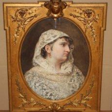 Arte: ANTONIO CABA CASAMITJANA (BARCELONA, 1838-1907) ACUARELA ADHERIDA A LIENZO. JOVEN CON MANTILLA. Lote 179208277