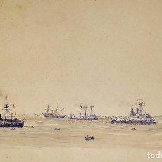 Arte: BARCOS DE VAPOR. ACUARELA SOBRE PAPEL. ATRIB. JULIÁN DEL POZO. ESPAÑA. XIX-XX. Lote 207062126