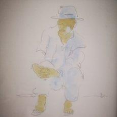 Arte: TINTA Y ACUARELA, SEÑOR SENTADO, ESCUELA CATALANA, FIRMA ILEGIBLE, POR ANALIZAR. ENMARCADO 28X36CM. Lote 207080183