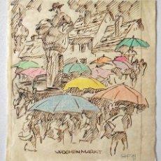 Arte: FANTASTICO PAISAJE URBANO ORIGINAL FIRMADO GHF FECHADO 1949, EXPRESIONIMO ALEMÁN FANTASTICOS COLORES. Lote 207123106