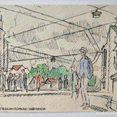 Arte: EXCELENTE PAISAJE URBANO ORGINAL, EXPRESIONISMO ALEMAN, FIRMADO Y FECHADO FGH 1949, GRAN CALIDAD. Lote 207124991
