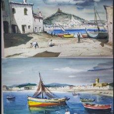 Arte: JOAN SERRA MELGOSA (1899-1970). PINTOR ESPAÑOL. PAR DE ACUARELAS SOBRE PAPEL PEGADO A CARTÓN.. Lote 207126475