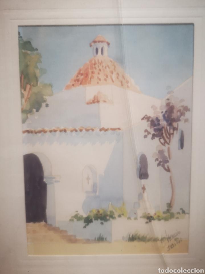Arte: Acuarela de J. Chavarino, Ibiza, tamaño enmarcada 32x27cm - Foto 2 - 207141331