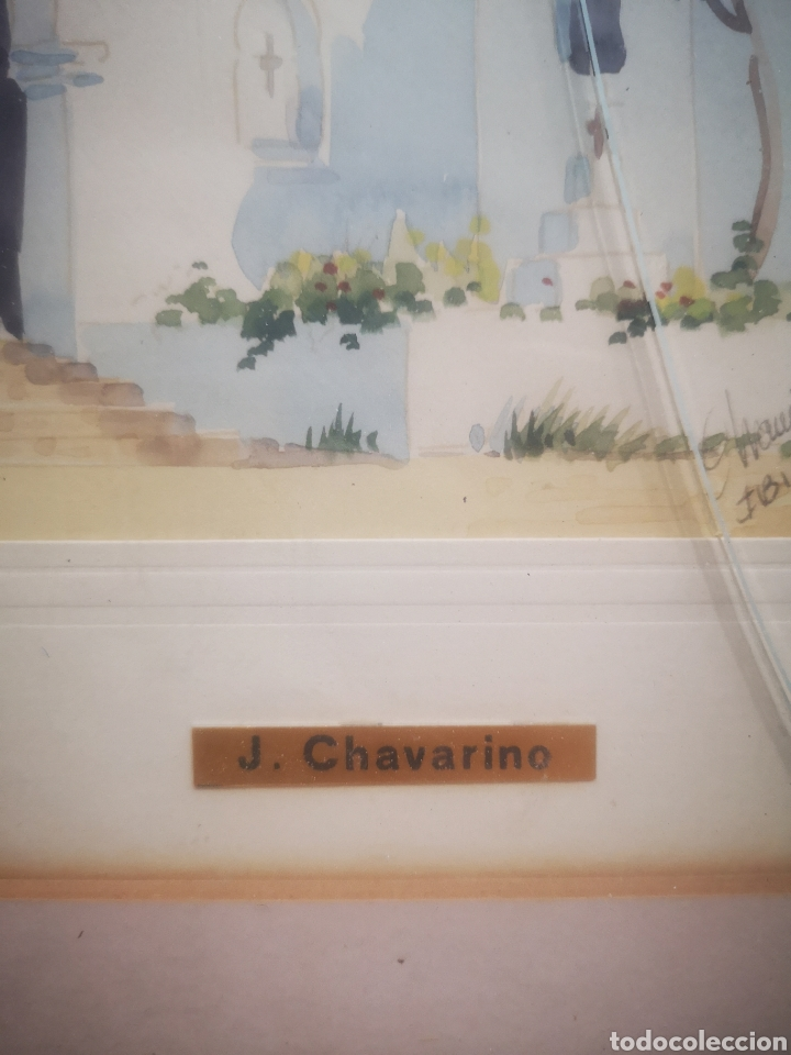 Arte: Acuarela de J. Chavarino, Ibiza, tamaño enmarcada 32x27cm - Foto 4 - 207141331