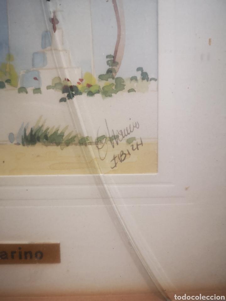 Arte: Acuarela de J. Chavarino, Ibiza, tamaño enmarcada 32x27cm - Foto 5 - 207141331