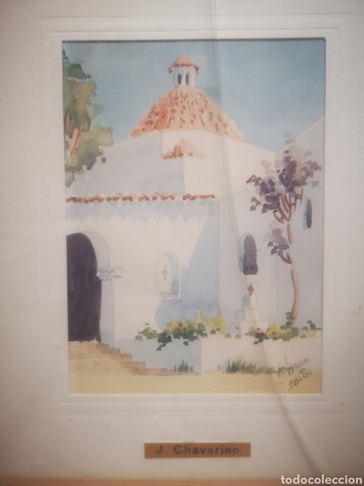 ACUARELA DE J. CHAVARINO, IBIZA, TAMAÑO ENMARCADA 32X27CM (Arte - Acuarelas - Contemporáneas siglo XX)