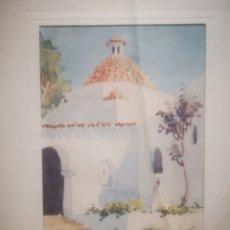 Arte: ACUARELA DE J. CHAVARINO, IBIZA, TAMAÑO ENMARCADA 32X27CM. Lote 207141331