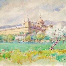 Arte: EL PALACIO DEL ESCORIAL. ACUARELA SOBRE PAPEL. FIRMADO V. ANDRADE. ESPAÑA. 1945. Lote 207196550