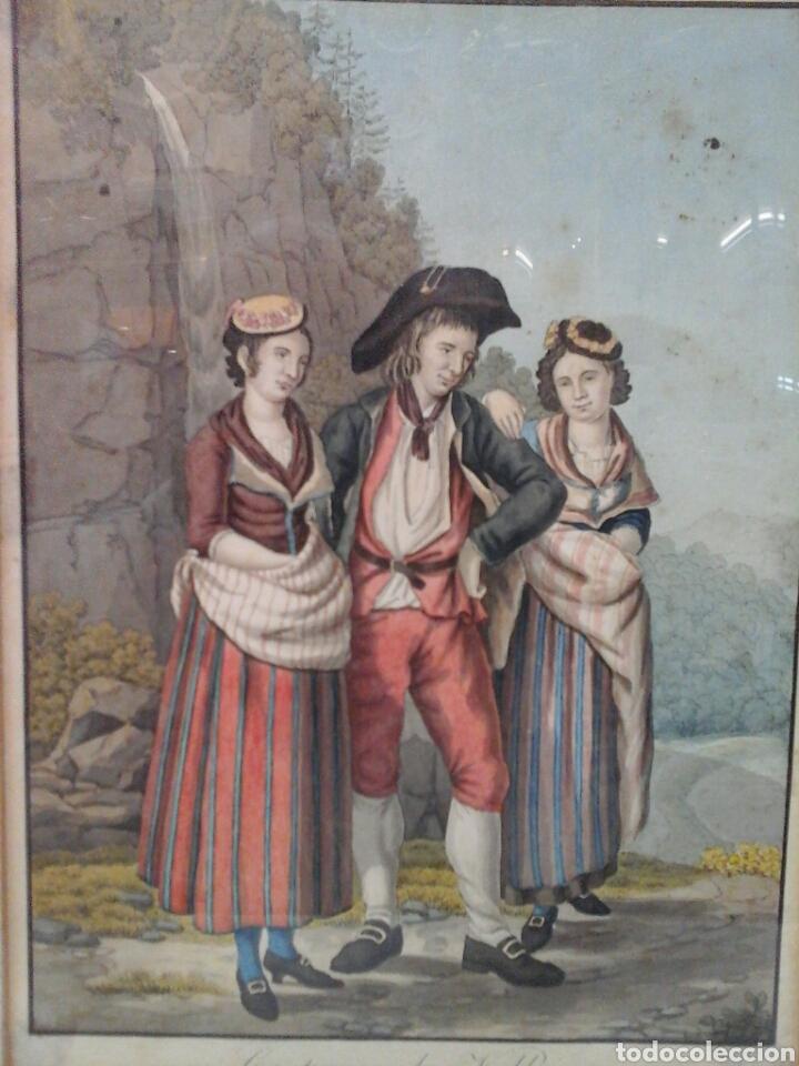 Arte: Acuarela francesa Costumes de Vallais S.XVIII - Foto 2 - 207605637