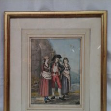 Arte: ACUARELA FRANCESA COSTUMES DE VALLAIS S.XVIII. Lote 207605637