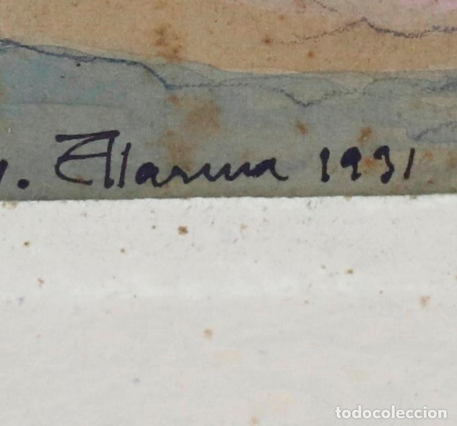 Arte: Salvador Alarma (1870 - 1941), acuarela, escenografía para teatro, ruinas, 1931, con dedicatoria. - Foto 5 - 207686531