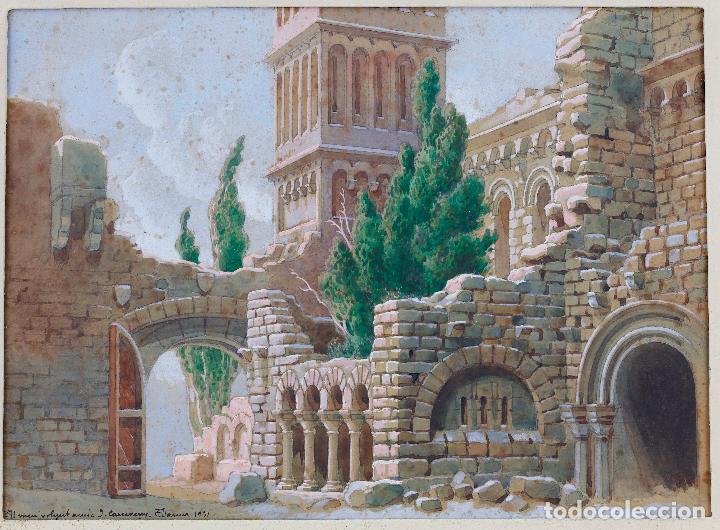 Arte: Salvador Alarma (1870 - 1941), acuarela, escenografía para teatro, ruinas, 1931, con dedicatoria. - Foto 2 - 207686531