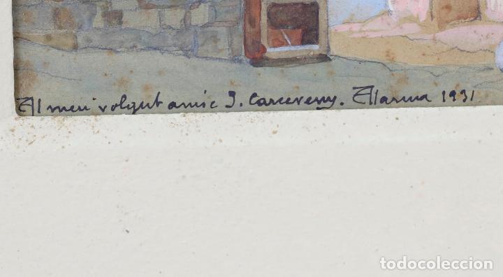 Arte: Salvador Alarma (1870 - 1941), acuarela, escenografía para teatro, ruinas, 1931, con dedicatoria. - Foto 4 - 207686531