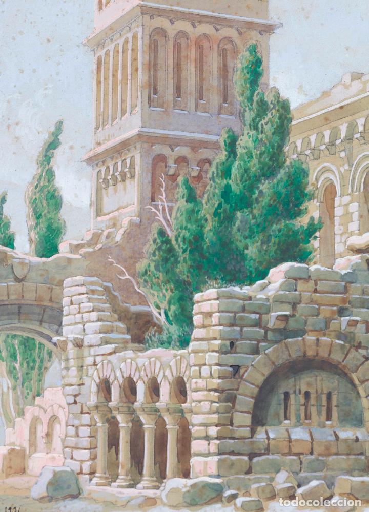 Arte: Salvador Alarma (1870 - 1941), acuarela, escenografía para teatro, ruinas, 1931, con dedicatoria. - Foto 3 - 207686531