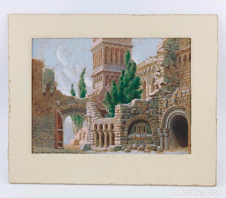 Arte: Salvador Alarma (1870 - 1941), acuarela, escenografía para teatro, ruinas, 1931, con dedicatoria. - Foto 7 - 207686531