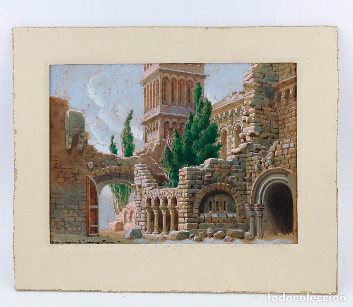 SALVADOR ALARMA (1870 - 1941), ACUARELA, ESCENOGRAFÍA PARA TEATRO, RUINAS, 1931, CON DEDICATORIA. (Arte - Acuarelas - Contemporáneas siglo XX)