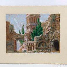 Arte: SALVADOR ALARMA (1870 - 1941), ACUARELA, ESCENOGRAFÍA PARA TEATRO, RUINAS, 1931, CON DEDICATORIA.. Lote 207686531
