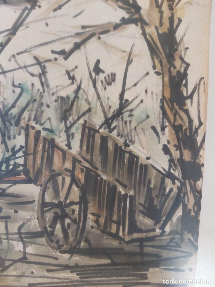 Arte: acuarela FIRMA JUSTO OTERO HÓRREO CARRO 1973 GALICIA ASTURIAS 66 X 93 CM - Foto 4 - 236122480