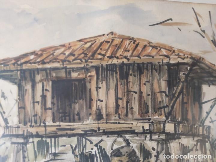 Arte: acuarela FIRMA JUSTO OTERO HÓRREO CARRO 1973 GALICIA ASTURIAS 66 X 93 CM - Foto 6 - 236122480