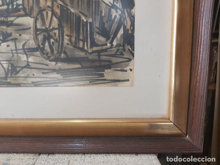 Arte: acuarela FIRMA JUSTO OTERO HÓRREO CARRO 1973 GALICIA ASTURIAS 66 X 93 CM - Foto 8 - 236122480