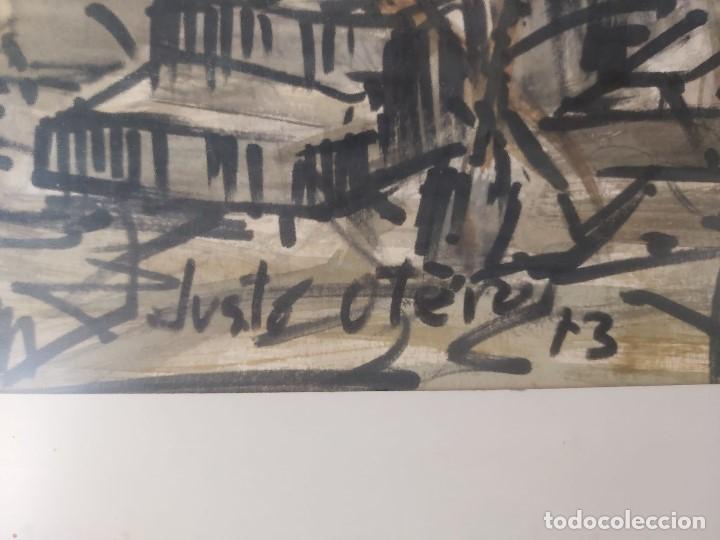 Arte: acuarela FIRMA JUSTO OTERO HÓRREO CARRO 1973 GALICIA ASTURIAS 66 X 93 CM - Foto 11 - 236122480