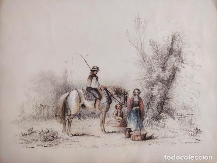 EXQUISITA ESCENA ORIGINAL DE FINALES DEL SIGLO XVIII, MUY BIEN EJECUTADA, GRAN CALIDAD (Arte - Acuarelas - Antiguas hasta el siglo XVIII)