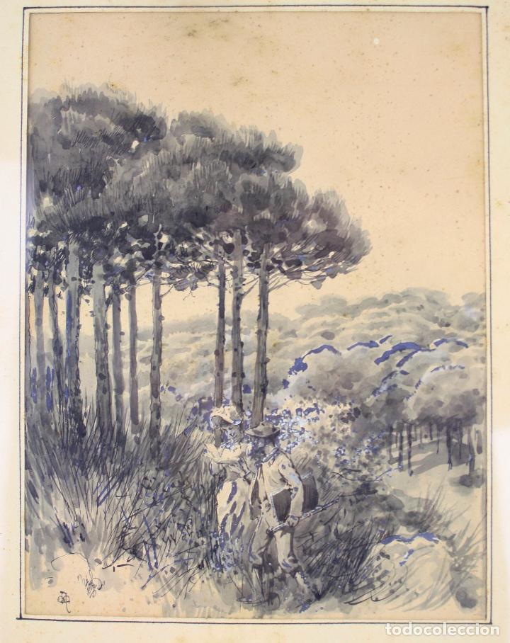 Arte: Apel·les Mestres, acuarela, personajes en el campo, 1893, dedicado al fotógrafo Emilio Fernández. - Foto 2 - 208223861