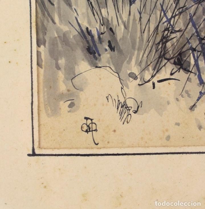 Arte: Apel·les Mestres, acuarela, personajes en el campo, 1893, dedicado al fotógrafo Emilio Fernández. - Foto 4 - 208223861
