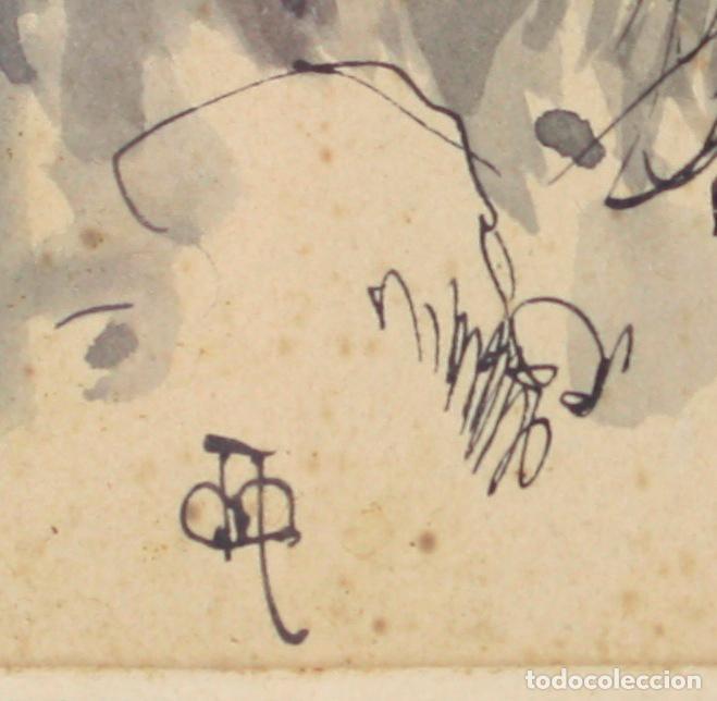 Arte: Apel·les Mestres, acuarela, personajes en el campo, 1893, dedicado al fotógrafo Emilio Fernández. - Foto 5 - 208223861