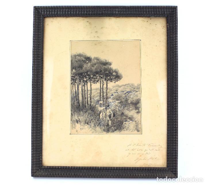 APEL·LES MESTRES, ACUARELA, PERSONAJES EN EL CAMPO, 1893, DEDICADO AL FOTÓGRAFO EMILIO FERNÁNDEZ. (Arte - Acuarelas - Modernas siglo XIX)