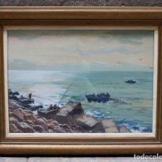 Arte: JOSEP ESCAYOLA, ACUARELA, PLAYA, CON MARCO. 56X40,5CM. Lote 208831335