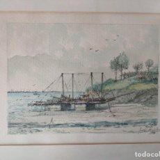 Arte: JULIAN HERNANDEZ SANTODOMINGO (VIGO 1930) - ACUARELA RANDE RIA DE VIGO - ORIGINAL. Lote 208848071