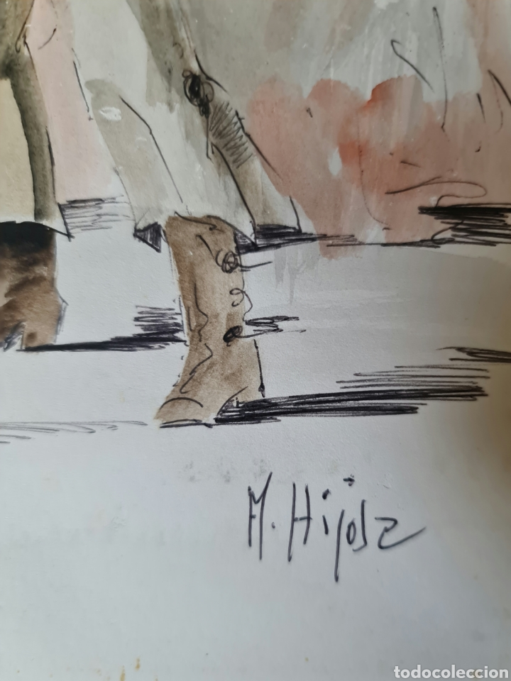 Arte: A. Hijosa, precioso dibujo, tinta y acuarela, firmado. - Foto 4 - 208926042