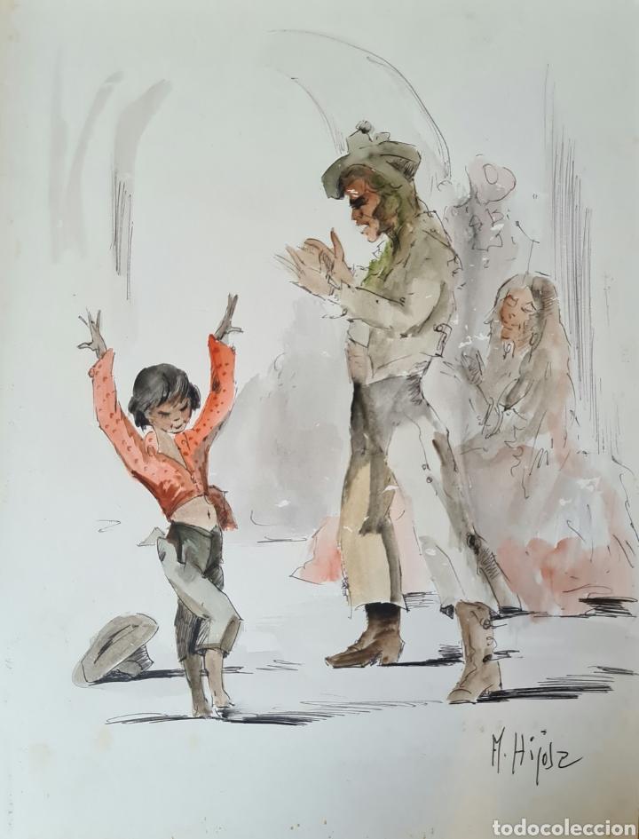 A. HIJOSA, PRECIOSO DIBUJO, TINTA Y ACUARELA, FIRMADO. (Arte - Acuarelas - Contemporáneas siglo XX)