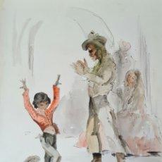 Arte: A. HIJOSA, PRECIOSO DIBUJO, TINTA Y ACUARELA, FIRMADO.. Lote 208926042