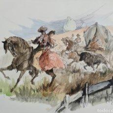 Arte: A. HIJOSA, PRECIOSO DIBUJO ACUARELA ORIGINAL FIRMADO.. Lote 209089570