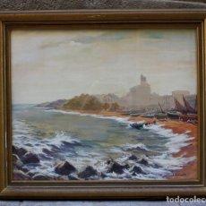 Arte: JOAN ESCAYOLA, ACUARELA, PLAYA, FIRMADO, CON MARCO. 71,5X58,5CM. Lote 209093915