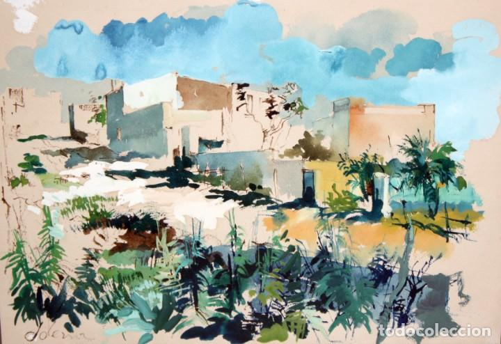 JOAN SERRA MELGOSA (LLEIDA 1899 - BARCELONA 1970) TÉCNICA MIXTA SOBRE PAPEL. PAISAJE (Arte - Acuarelas - Contemporáneas siglo XX)