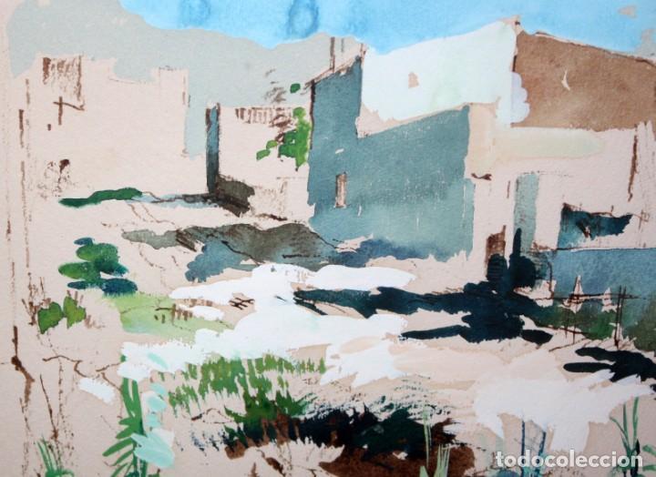 Arte: JOAN SERRA MELGOSA (Lleida 1899 - Barcelona 1970) TÉCNICA MIXTA SOBRE PAPEL. PAISAJE - Foto 7 - 209108142