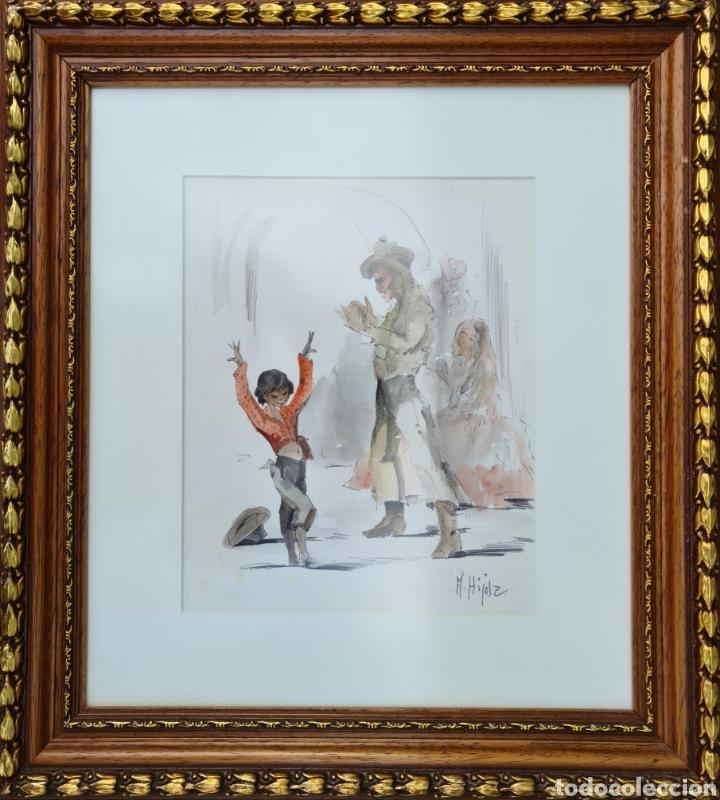 Arte: A. Hijosa, precioso dibujo, tinta y acuarela, firmado. - Foto 5 - 208926042