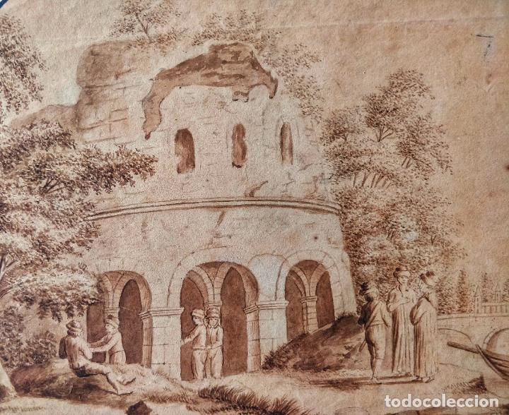 Arte: Excelente acuarela original escuela holandesa del siglo XVII, sepia, gran calidad - Foto 2 - 209418208