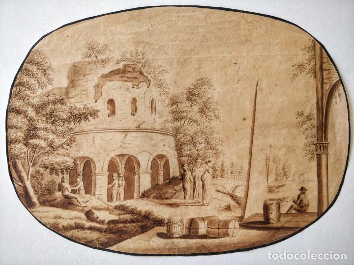 EXCELENTE ACUARELA ORIGINAL ESCUELA HOLANDESA DEL SIGLO XVII, SEPIA, GRAN CALIDAD (Arte - Acuarelas - Antiguas hasta el siglo XVIII)