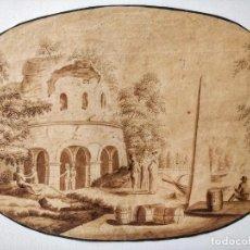 Arte: EXCELENTE ACUARELA ORIGINAL ESCUELA HOLANDESA DEL SIGLO XVII, SEPIA, GRAN CALIDAD. Lote 209418208