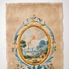 Arte: EXCELENTE ACUARELA ORIGINAL FIRMADA M. CRIVELLI Y FECHADA EN 1816, MEUM EST CONSILIUM. Lote 209419605