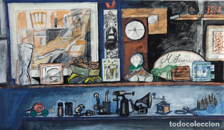 ISABEL SERRAHIMA (1934-1999) ACUARELA Y GOAUCHE SOBRE PAPEL ESTANTERÍAS CON OBJETO (Arte - Acuarelas - Contemporáneas siglo XX)