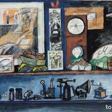 Arte: ISABEL SERRAHIMA (1934-1999) ACUARELA Y GOAUCHE SOBRE PAPEL ESTANTERÍAS CON OBJETO. Lote 209799006